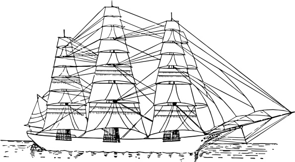 Fully Rigged Ship clip art Free vector in Open office drawing svg.