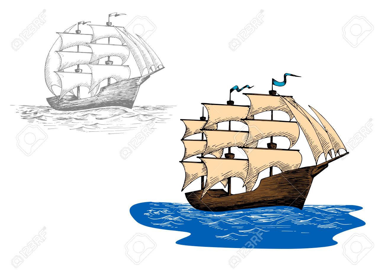 Full Rigged Old Sailing Ship At Sea Waves. Sketch For Marine.