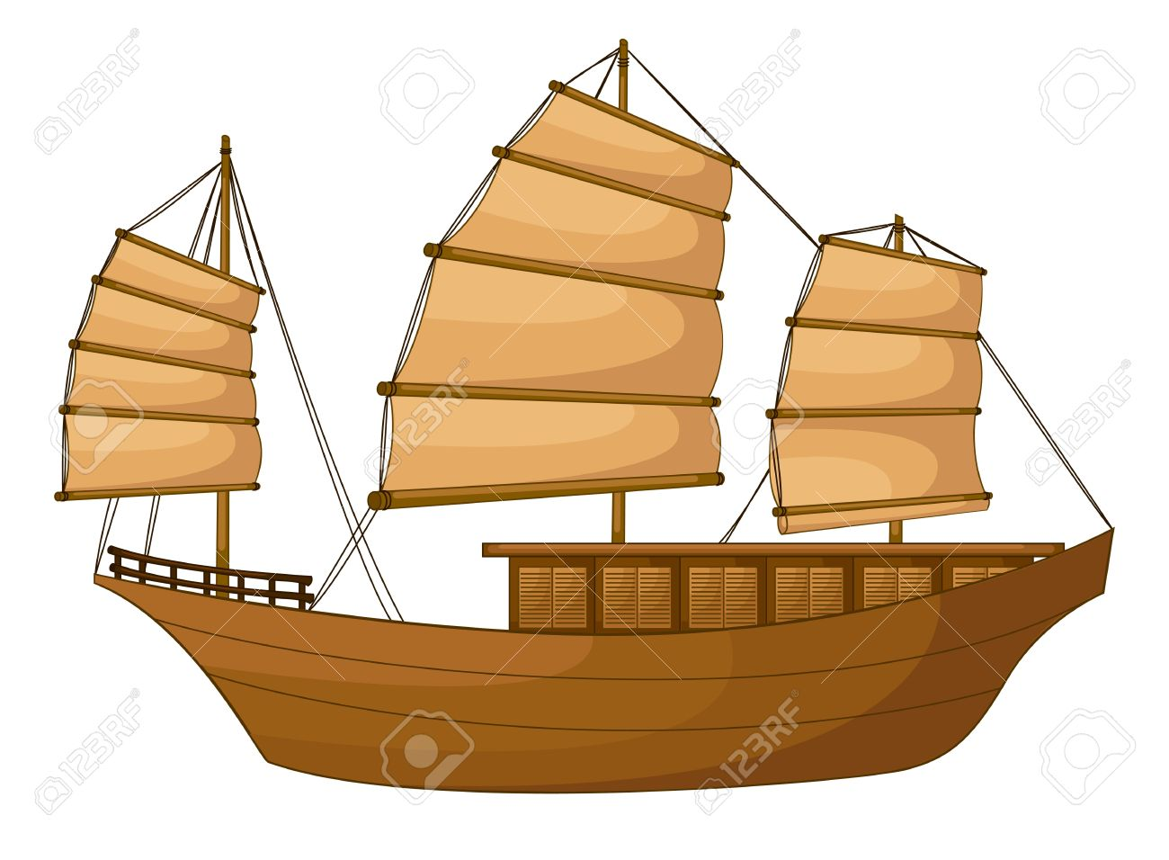 Illustration Of Full Rigged Ship On A White Background Royalty.