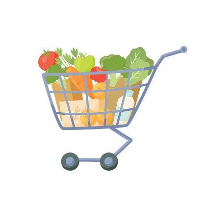 Full shopping cart Clipart Image.