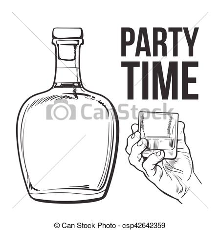 Clipart Vector of rum bottle and hand holding full shot glass.