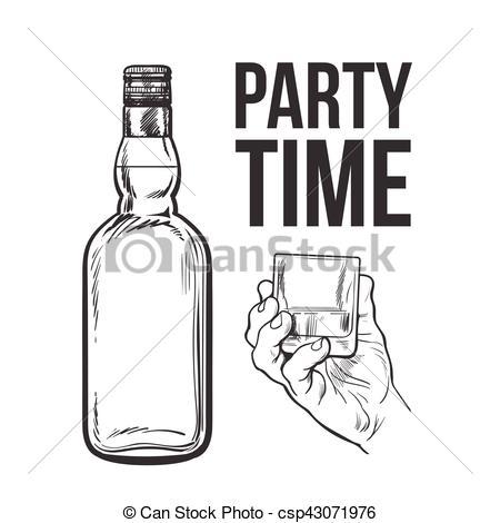 Vectors Illustration of Whiskey bottle and hand holding full shot.
