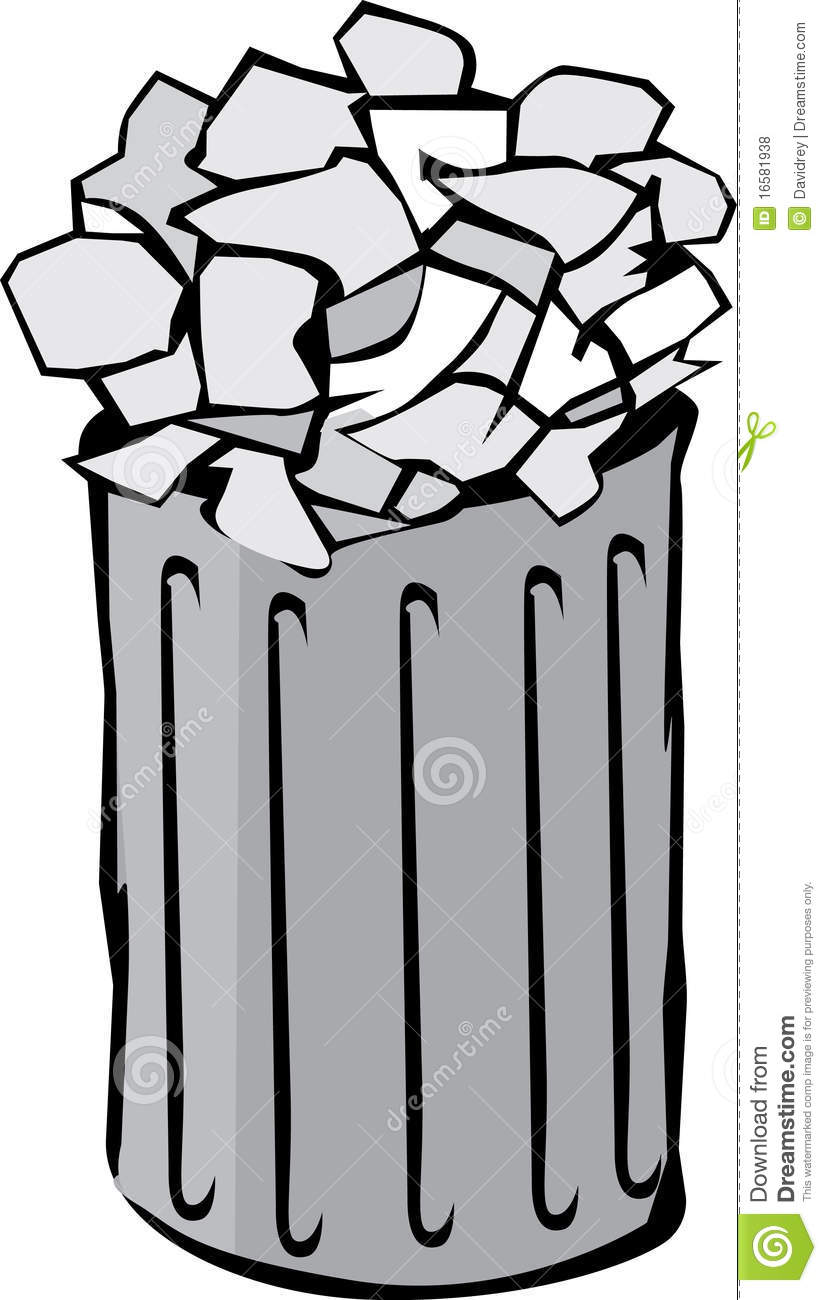 Full Garbage Can Clipart.