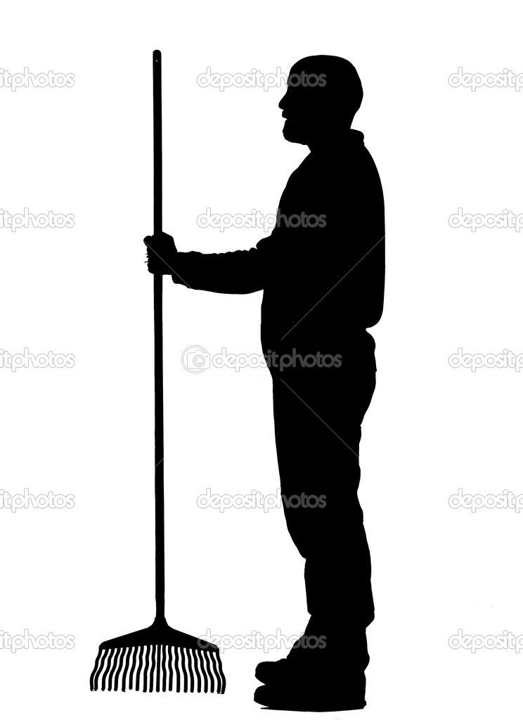 Full body side view garden worker clip art silhouette — Stock.
