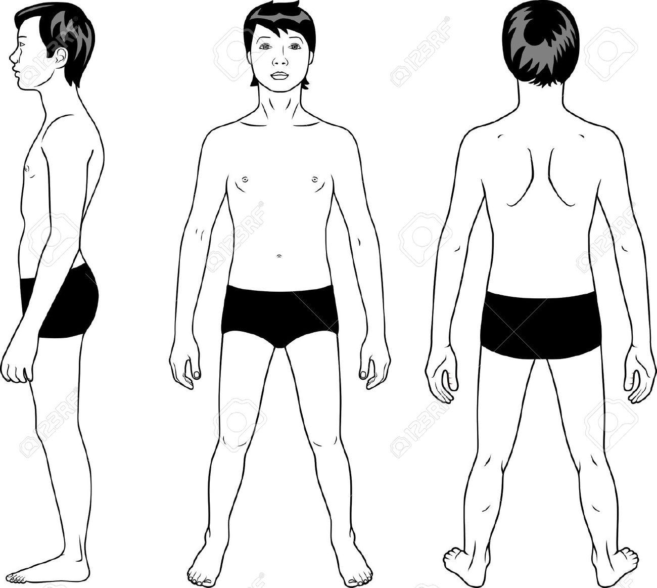 Side body profile clipart.