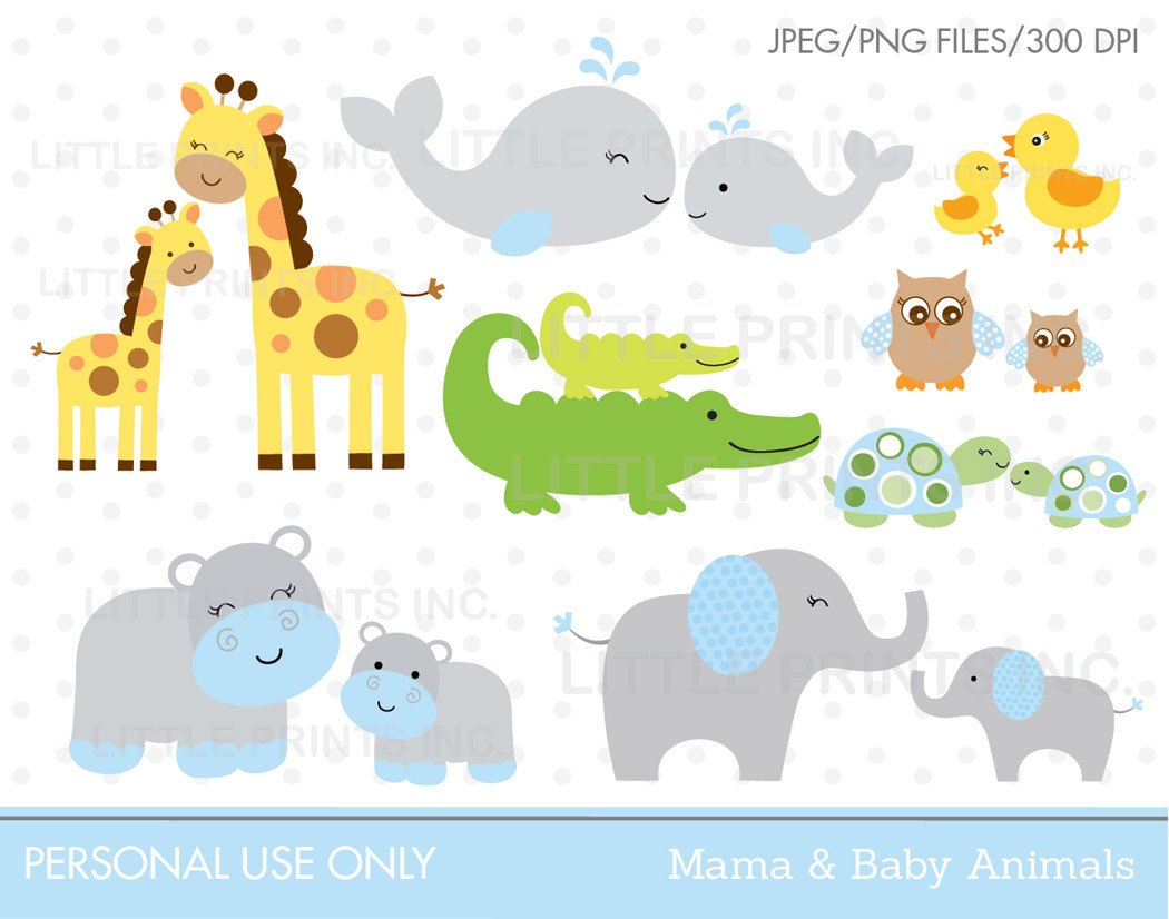 Cartoon Cute Mother Baby And Animal Clipart. Amigalib.com.