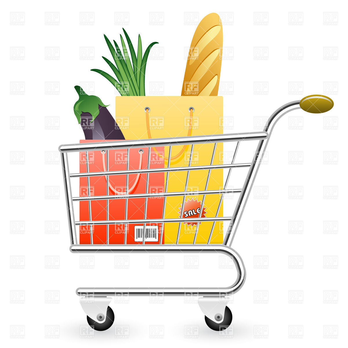 Shopping cart full of products Vector Image #5932.