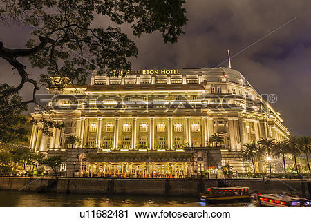 Stock Photography of Night View of The Fullerton Hotel; Singapore.
