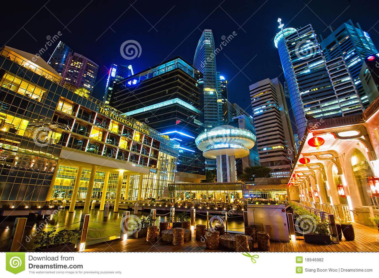 The Fullerton Bay Hotel At Singapore Marina Bay Editorial.