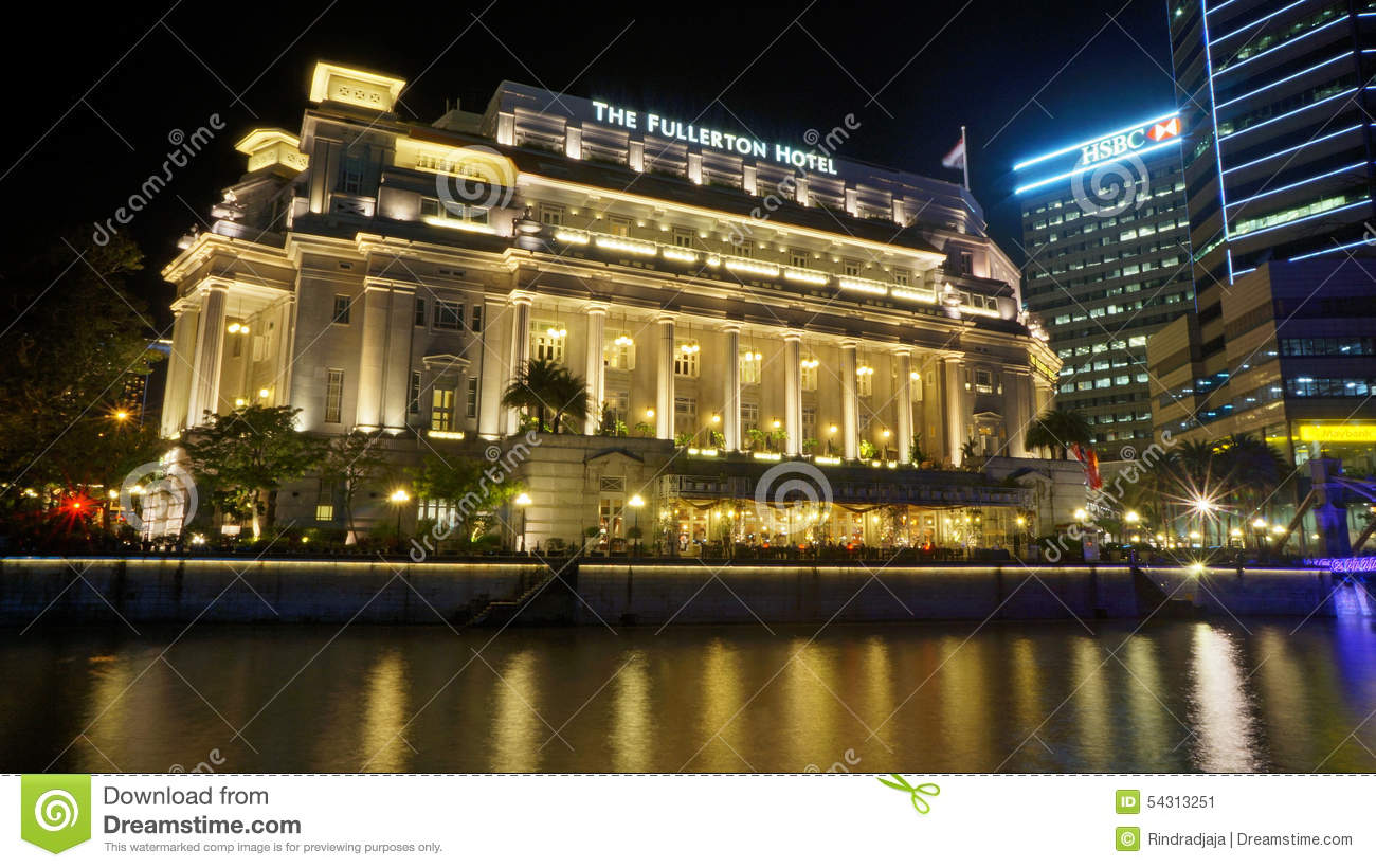 The Fullerton Hotel Viewed Across Singapore River Editorial Photo.