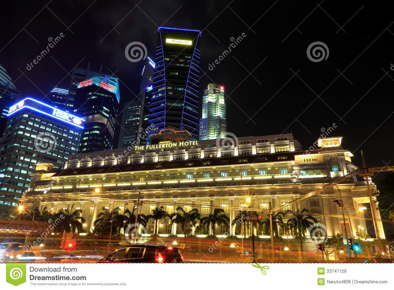 The Fullerton Hotel At Night, Singapore Editorial Stock Image.