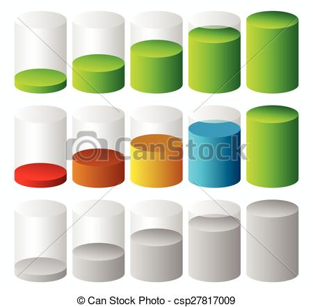 Vector Clipart of 3d Cylinder level, completion, fullness or.