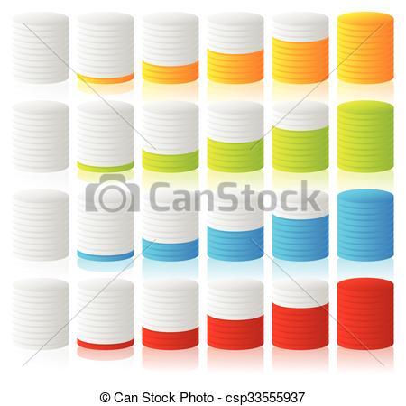 Vectors of Cylinder, completion, fullness or progress indicators.