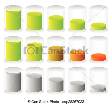 Vector Illustration of Cylindrical graphics for levels, fullness.