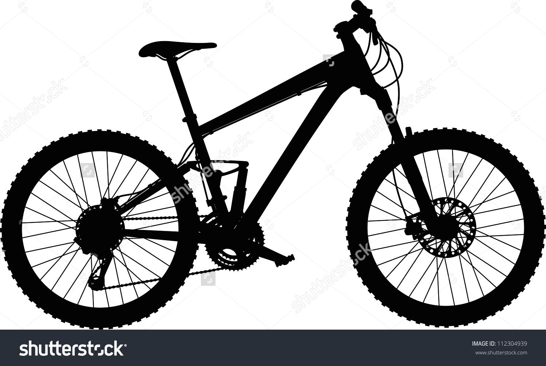 Vector Silhouette Fullsuspension Mountain Bike Stock Vector.