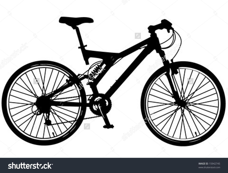 Illustration Modern Mountain Bike Fullsuspension Stock Vector.