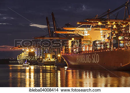 """Stock Photo of """"Fully automatic unloading of container ships."""