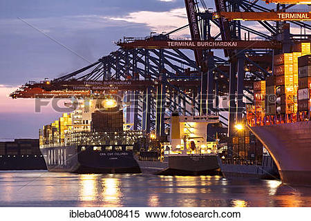 """Stock Image of """"Fully automatic unloading of container ships."""