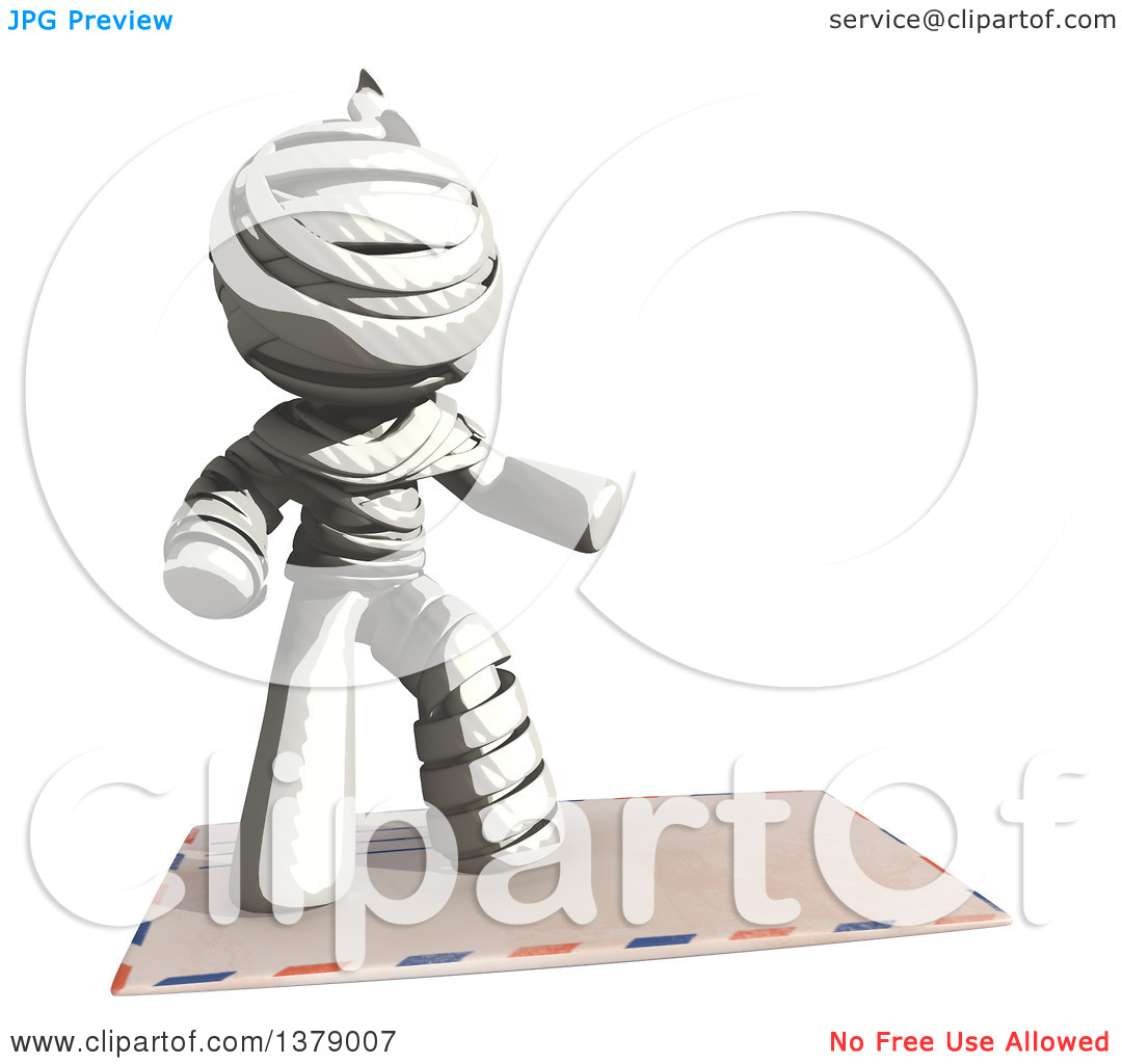 Clipart of a Fully Bandaged Injury Victim or Mummy Surfing on an.