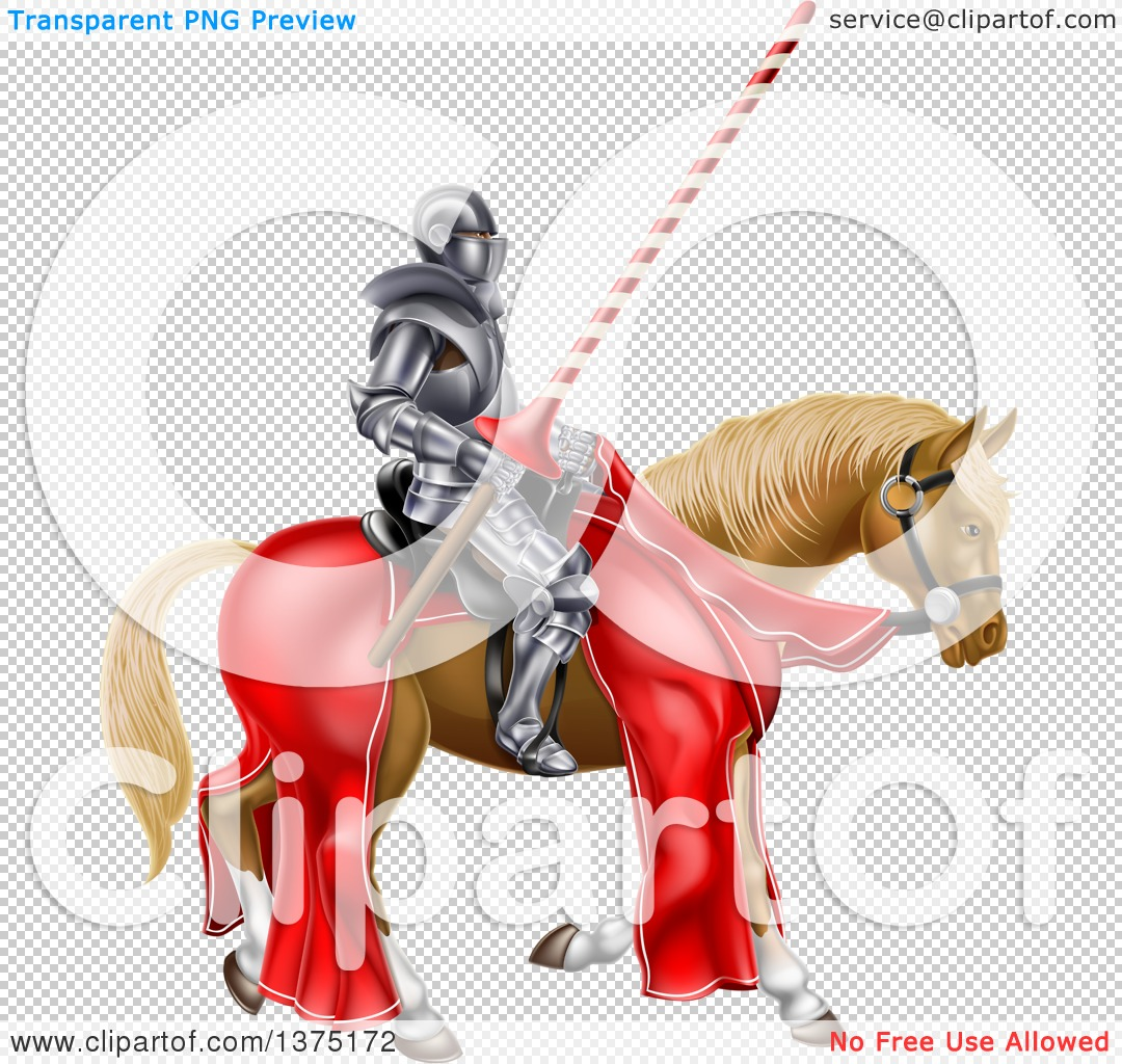 Clipart of a 3d Fully Armored Jousting Knight Holding a Lance on a.