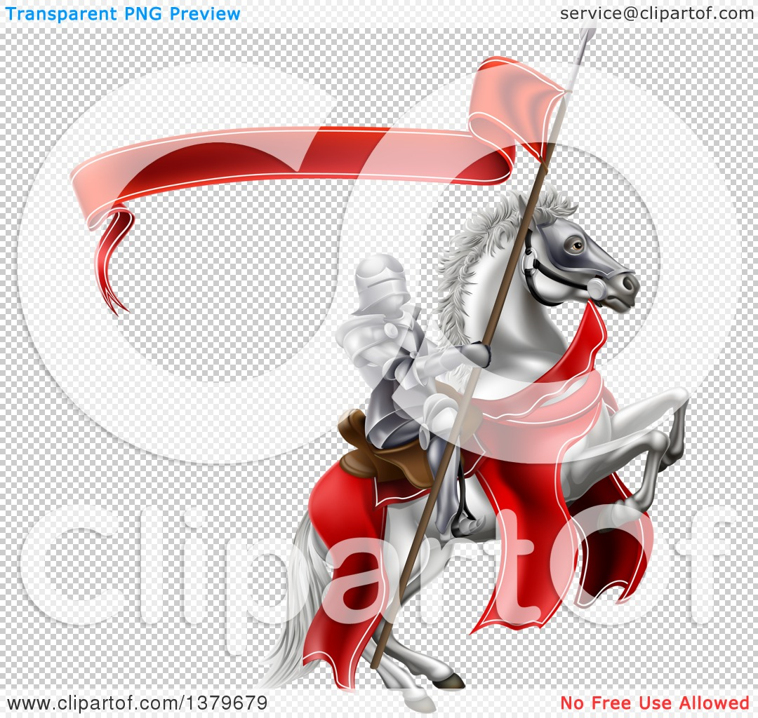 Clipart of a 3d Fully Armored Medieval Knight on a Rearing White.
