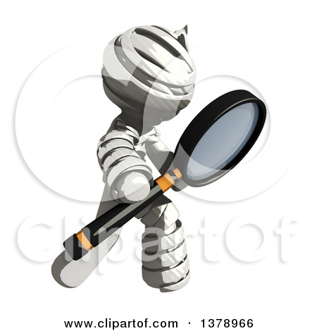 Clipart of a Fully Bandaged Injury Victim or Mummy Searching with.