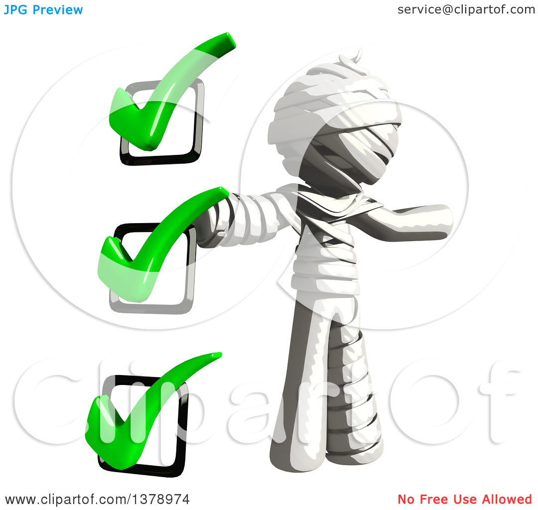 Clipart of a Fully Bandaged Injury Victim or Mummy with a to Do.