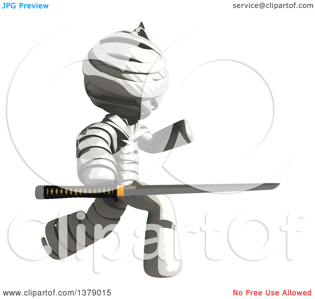 Clipart of a Fully Bandaged Injury Victim or Mummy Holding a Sword.