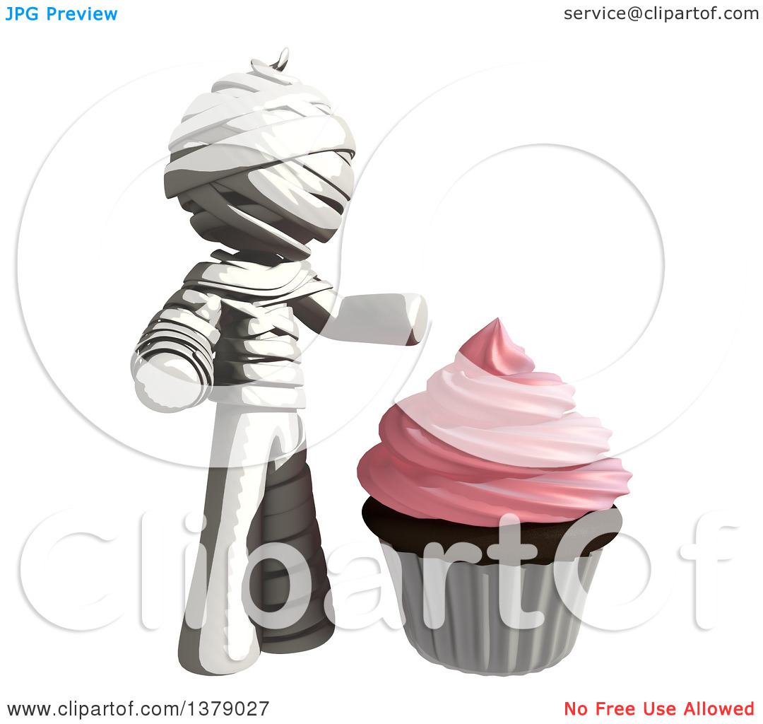 Clipart of a Fully Bandaged Injury Victim or Mummy with a Cupcake.