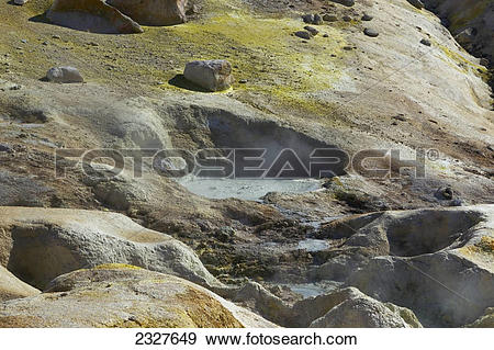 Stock Photograph of Big boiler fumarole in lassen volcanic.