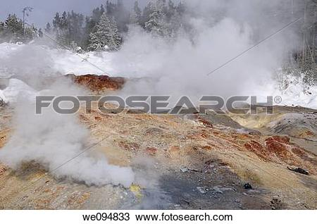 Stock Photo of Hot steam in winter from Steamboat Geyser and.