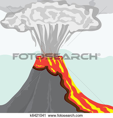 Clipart of Fuming volcano with fiery lava and big column of smoke.