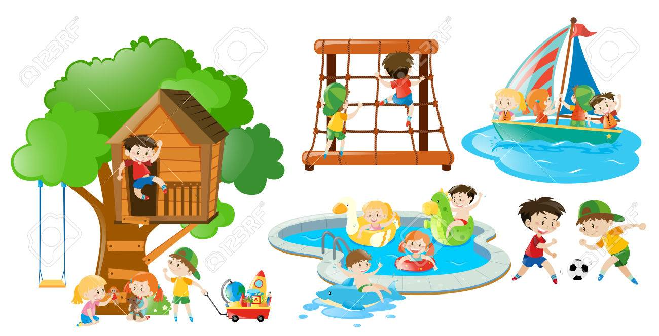 Children having fun doing different activities illustration.