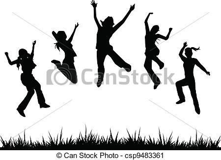 Vector Clip Art of silhouettes kids jumping for children, fun.