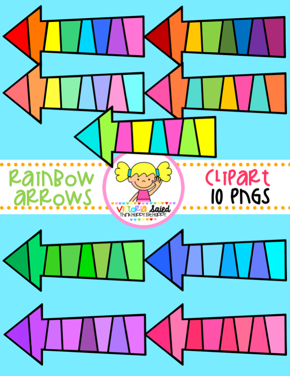 Rainbow Arrows Clipart.