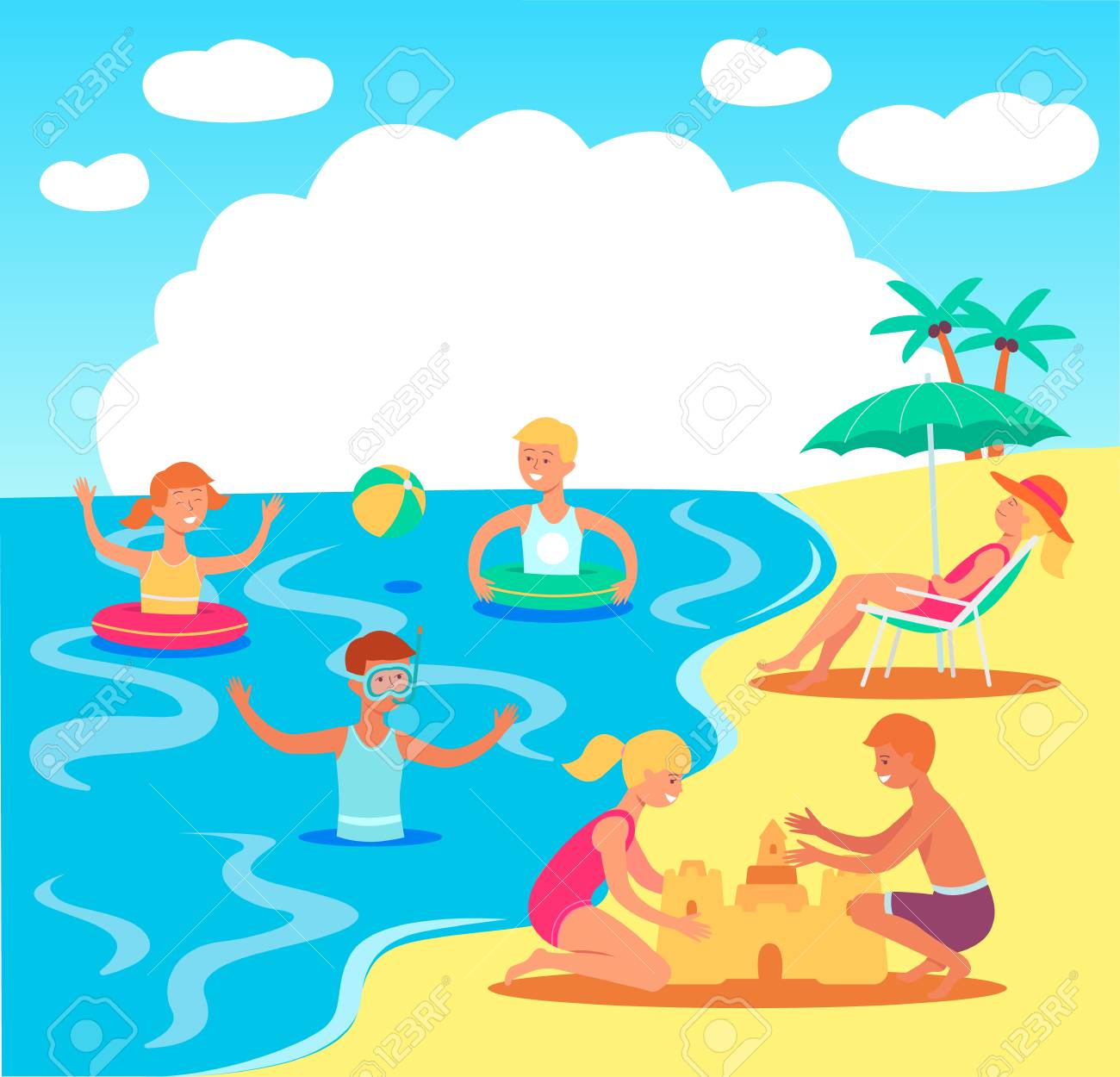 Vector teen kids having fun at beach swimming in sea with inflatable...