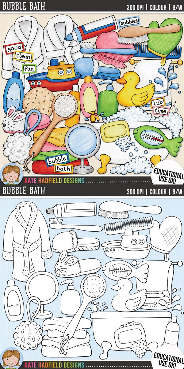 "Bath Time Clip Art: ""Bubble Bath""."
