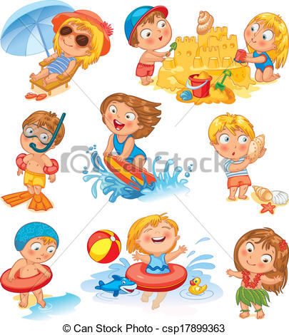 Clip Art Vector of Summer vacation. Cute little girl in a bathing.