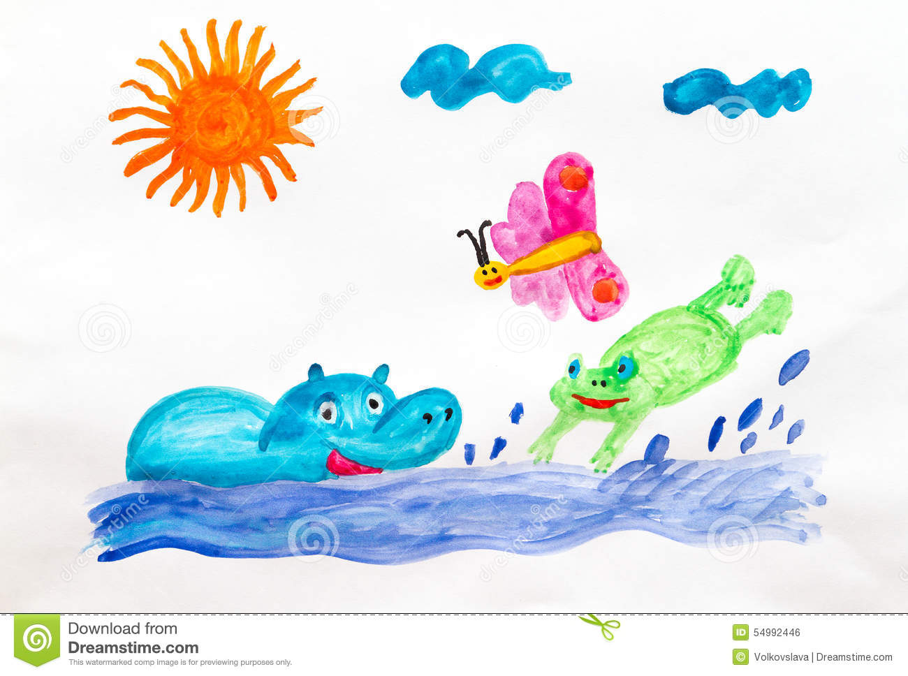 Fun Bathing Stock Illustration.