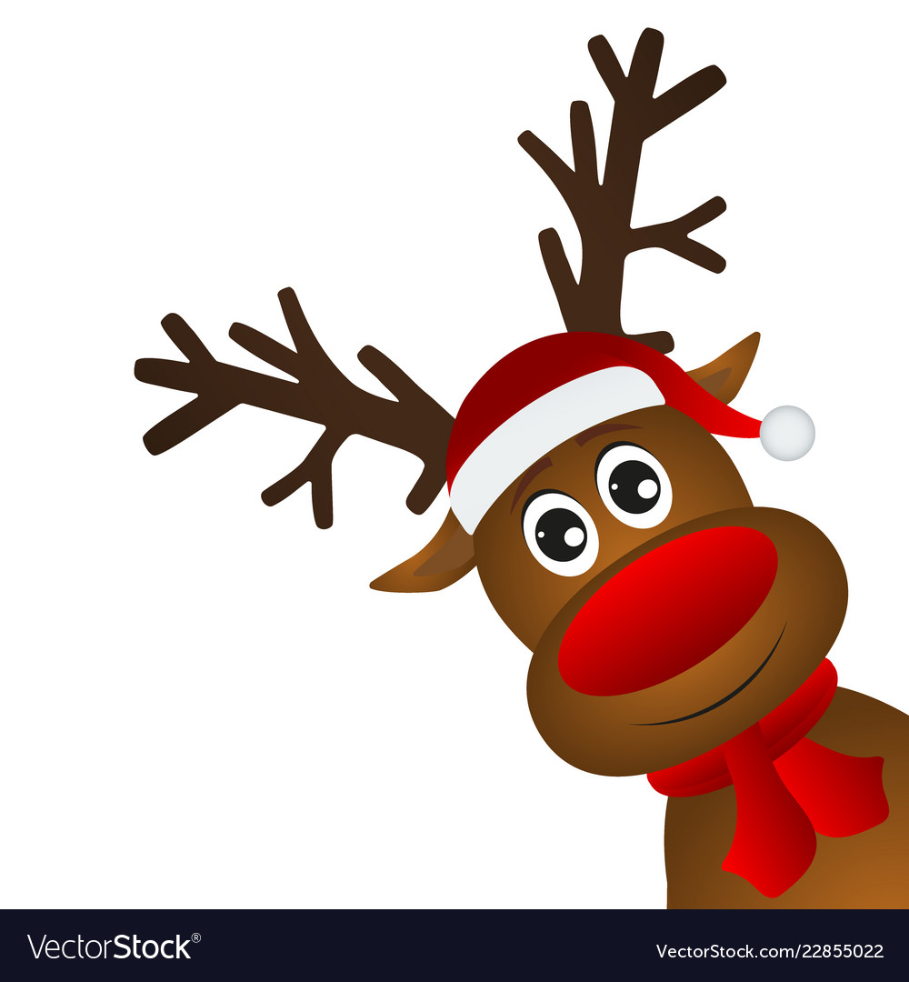 Funny cartoon christmas reindeer.