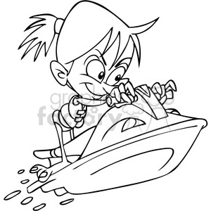 girl on a jet ski summer fun black and white clipart. Royalty.