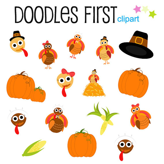 Thanksgiving Fun Turkey Pumpkins and Corn Clipart by DoodlesFirst.