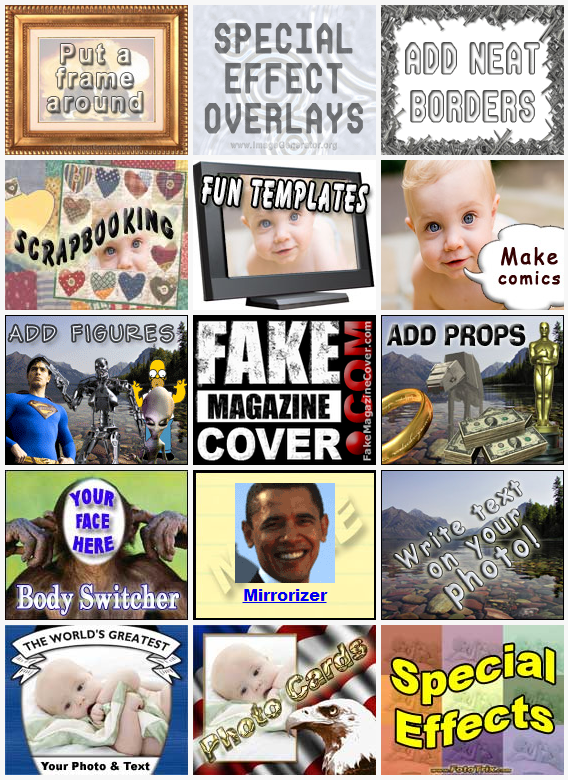 Funny photo effects Image generators Fake magazine Cover Add.