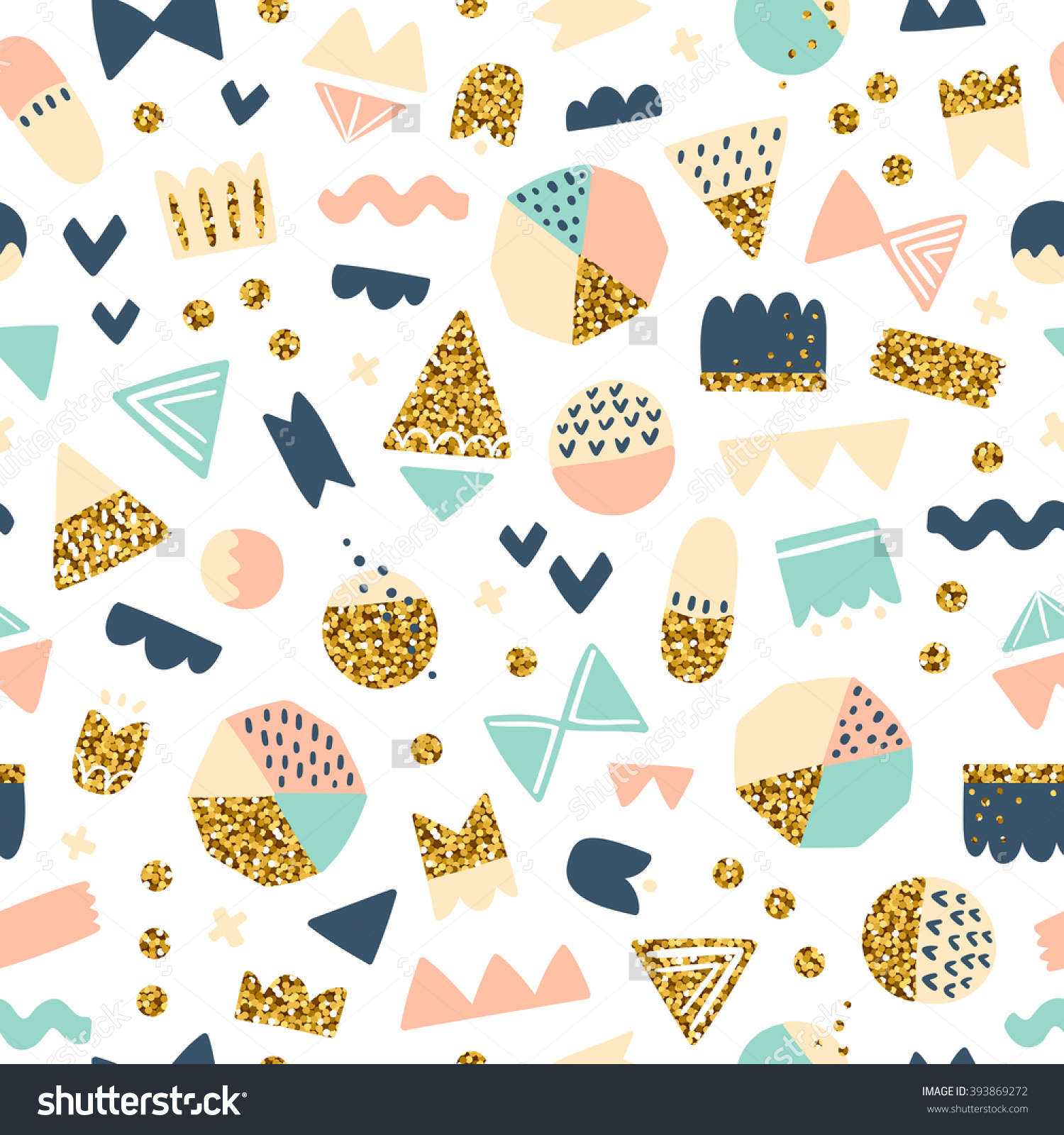 Fun Shapes Seamless Pattern With Gold Glitter Effect On White.