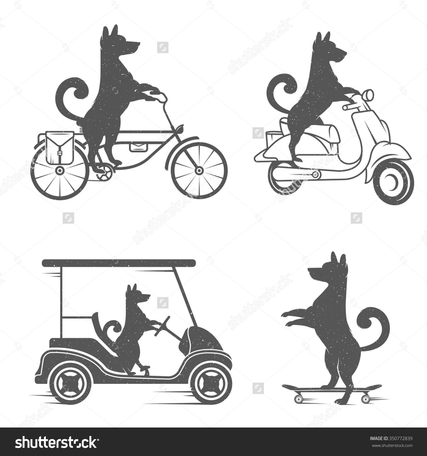 Vintage Illustration Fun Dog Grunge Effect Stock Vector 350772839.