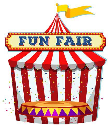 A Fun Fair Tent on White Background.