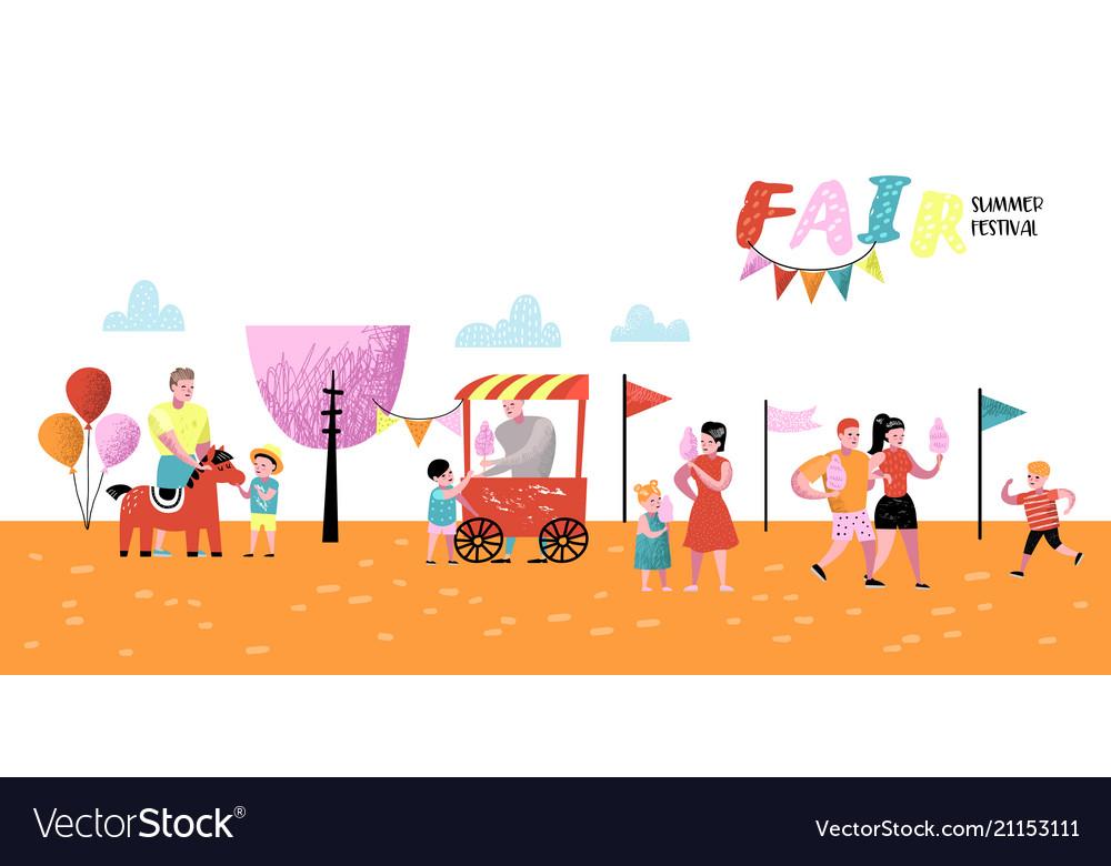 Summer fun fair amusement park characters people.