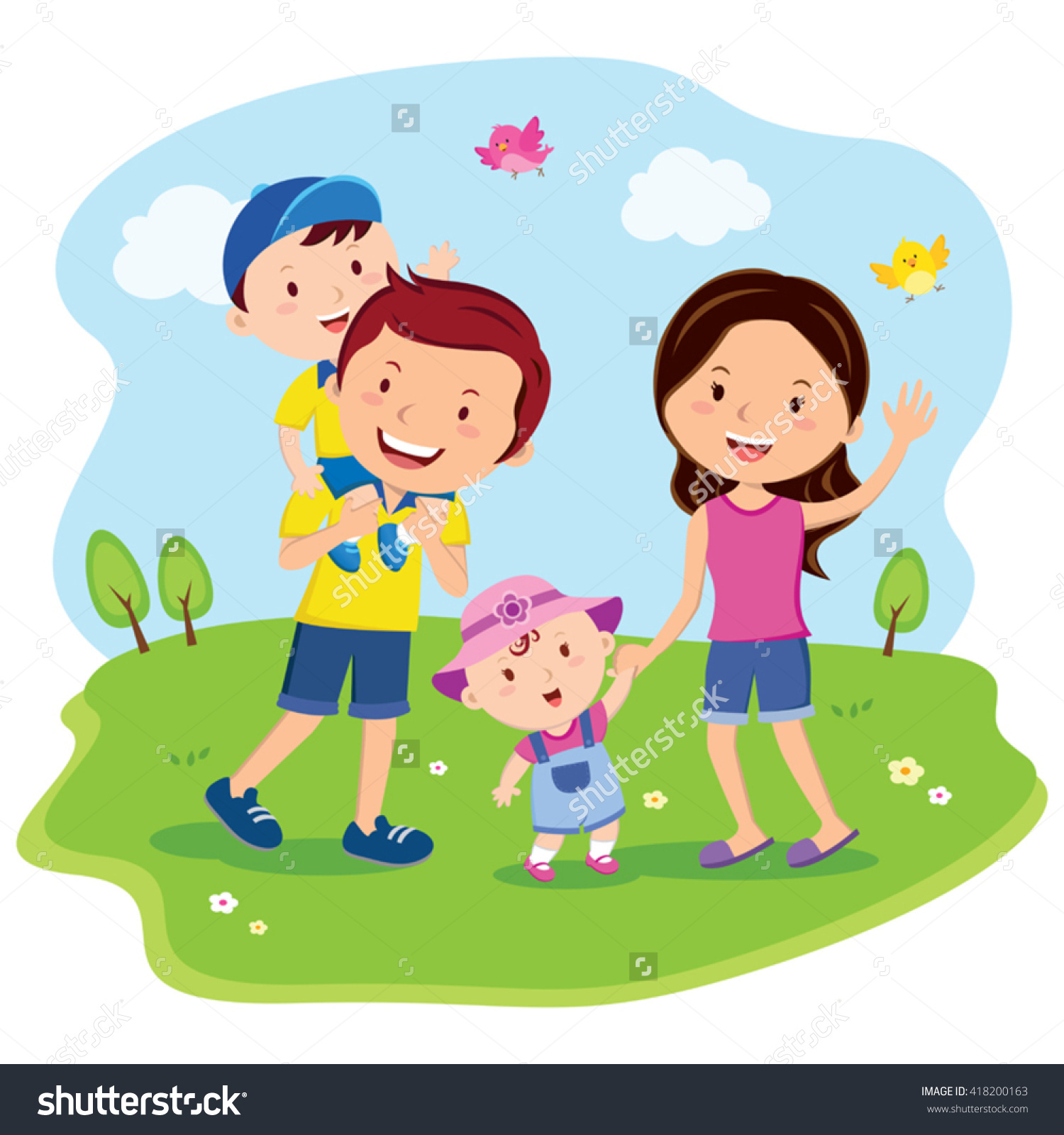 Happy Family Day Cheerful Family Outing Stock Vector 418200163.