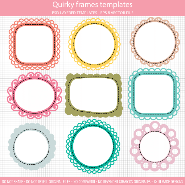 Quirky frames clipart templates set comes with nine fun frames.