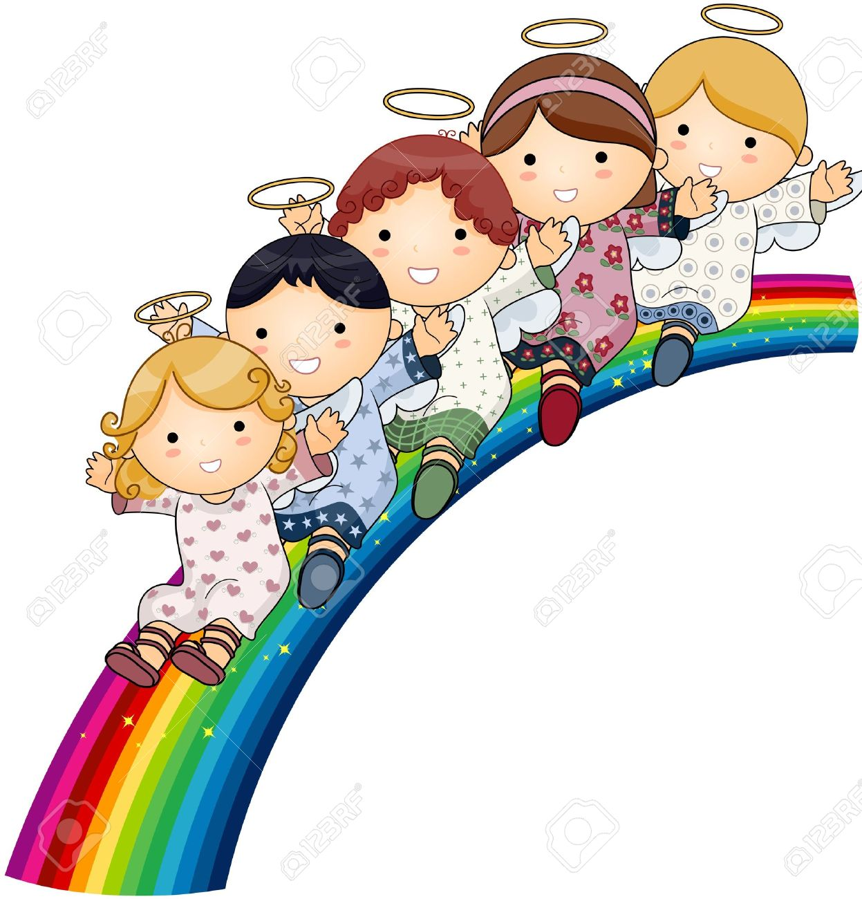 Angels On Rainbow Stock Photo, Picture And Royalty Free Image.